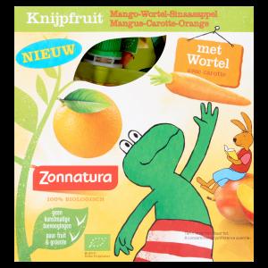 webshop supplementen Webshop Zonnatura 8710863805958 Zonnatura Knijpfruit Mango Wortel Sinaasappel 4 x  T1 300x300